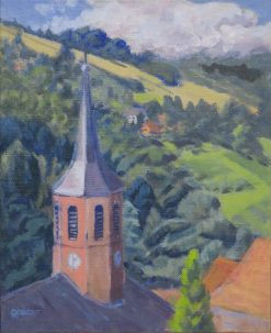 2013-landscapes-outdoor painting-Philippa Robert-Village church, Alsace