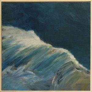 2017-x-seascapes-wave painting-Philippa Robert-Adelaide South Australia-Breaking bow wave FRAMED