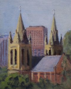 Outdoor painting 2017-landscapes-Philippa Robert-Adelaide South Australia-St Peter's Cathedral Adelaide