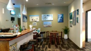 exhibition preparation-seascapes-Philippa Robert-Cafe Lune full gallery view