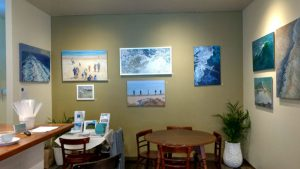 exhibition preparation-seascapes-Philippa Robert-Cafe Lune-my gallerySML