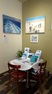 exhibition preparation-seascapes-Philippa Robert-Cafe Lune