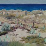 painting supports-linen panels-2017-28-seascapes-outdoor painting-Philippa Robert-Adelaide South Australia-sunshine on sandhills