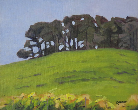 landscapes-2016-outdoor painting-Philippa Robert-Pines and vines, McLaren Vale