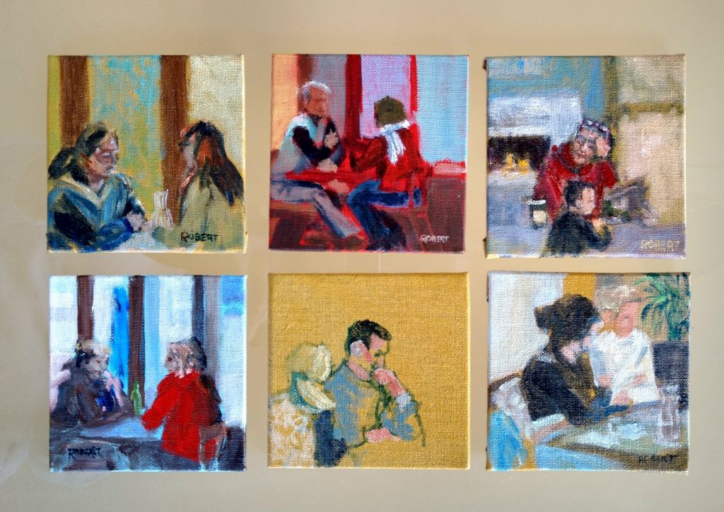 Outdoor painting indoors-cafe paintings-Philippa Robert-Adelaide South Australia