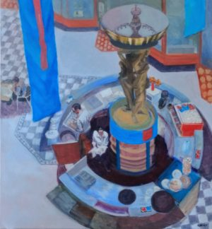 cafe paintings-Philippa Robert-Adelaide South Australia-Working with circles-2018