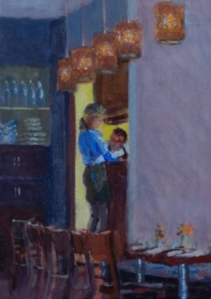 cafe paintings-Philippa Robert-Adelaide South Australia-Consulting the chef-2018