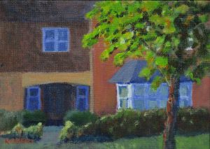 english streetscapes-outdoor painting-Philippa Robert-Adelaide South Australia-Evening in Warwickshire